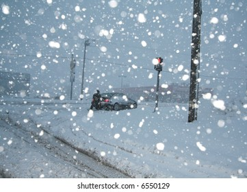 Cars stuck in the snow