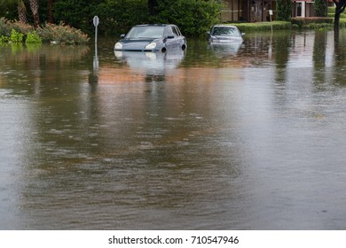 Cars submerged in Texas during hurricane Harvey. For hurricanes like Irma, formed in the Atlantic, climate models have high confidence that future storms will drop more rain and will have higher winds