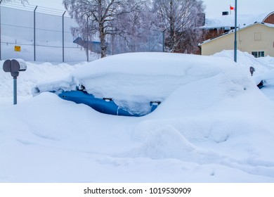 Cars in Sweden during the winter