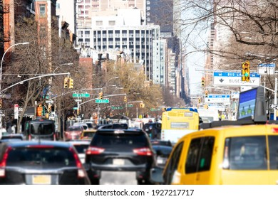 Cars, taxis and buses are crowded along 1st Avenue during rush hour traffic in Manhattan New York City NYC