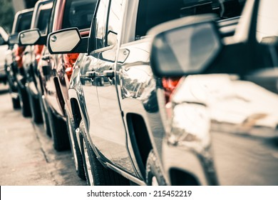 Cars Traffic Closeup. Urban Transportation Concept. Pickup Trucks Line.