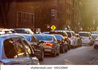 Cars Traffic Closeup. Urban Transportation Concept.