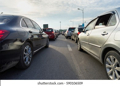 Cars in traffic during rush hour