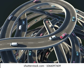 cars at the traffic junction, 3d illustration
