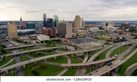 Cars and trucks move in and out of The Downtown City Center of Kansas City Missouri