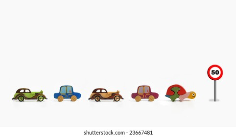 cars and turtle in a traffic jam