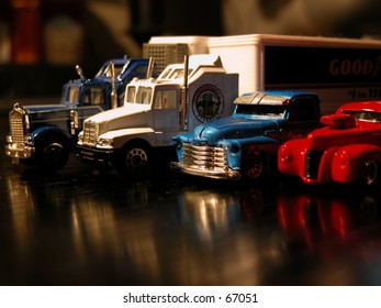 Cars: various lined up truck models