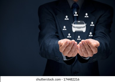 Carsharing service or car rental concept. Businessman with giving gesture and icon of car and group of people (customers).