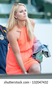 CARSON, CA - JUNE 23: Lindsey Vonn U.S. skiing champion & olympic gold medalist at the MLS game between the Los Angeles Galaxy & Vancouver Whitecaps on June 23, 2012 at the Home Depot Center in Carson