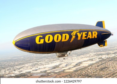 CARSON, CA USA - June 5, 2011: The Goodyear blimp. The Goodyear blimp is any one of a fleet of blimps operated by Goodyear Tire and Rubber Company for advertising purposes.