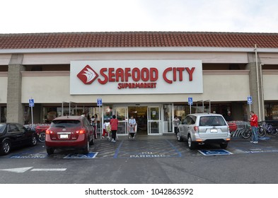 Carson, California - January 8, 2018: Front of Seafood City Supermarket.