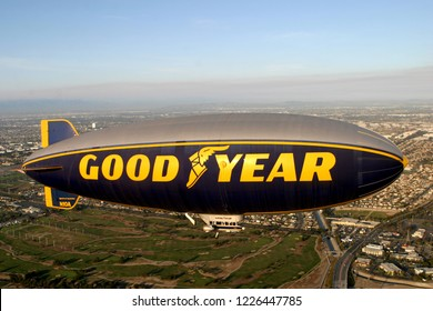 CARSON, CA/USA - AUGUST 2, 2014: The Goodyear blimp. The Goodyear blimp is any one of a fleet of blimps operated by Goodyear Tire and Rubber Company for advertising purposes.