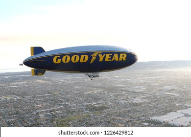 CARSON, CA/USA - June 5, 2011: The Goodyear blimp. The Goodyear blimp is any one of a fleet of blimps operated by Goodyear Tire and Rubber Company for advertising purposes./USA - AUGUST 2, 2014: Th