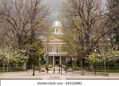 CARSON CITY, NEVADA - APRIL 24: Entrance to Nevada State Capitol Building on April 23, 2017. The building was finished in 1871.