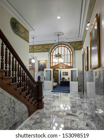 CARSON CITY, NEVADA - AUGUST 14: Marble corridor to the Secretary of State's Office at the Nevada State Capitol building on August 14, 2013 in Carson City, Nevada