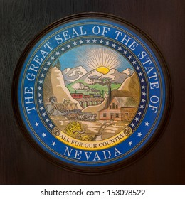 CARSON CITY, NEVADA - AUGUST 14: Great Seal of the State of Nevada on a podium at the Nevada State Capitol building on August 14, 2013 in Carson City, Nevada