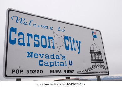 Carson City, Nevada / United States of America: Welcome to Carson City sign. Sign when entering the city from Lake Tahoe. March 10, 2018