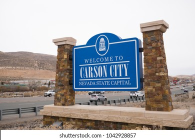 Carson City, Nevada / United States of America: Welcome to Carson City sign. Sign when entering the city. March 10, 2018