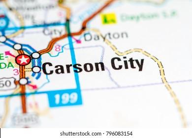 Carson City. Nevada. USA on a map