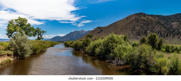 Carson river with clouds and mountains