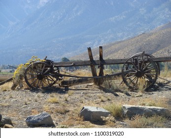 Carson Valley, Nevada. United States. Photo taken October of 2014. Historic wagon by the pony express Trail 1860-1861 with the desert and mountain landscape in background.