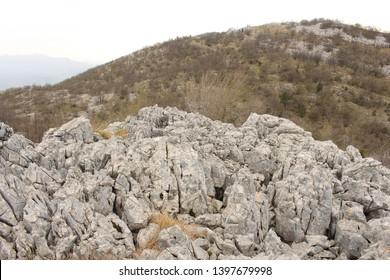 Carstic limestone mountain rocks in Montenegro