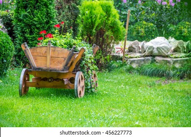 cart with beautiful flowers in wonderful day