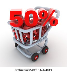 Cart and discount 50% (done in 3d, isolated)