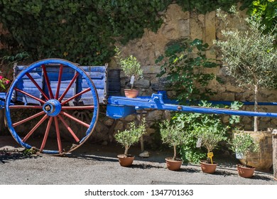 Cart with fresh lavender and olive tree for sale, Sault Provence, France.