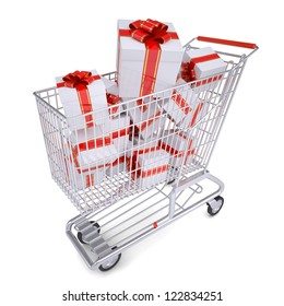 Cart with gifts. Isolated render on a white background
