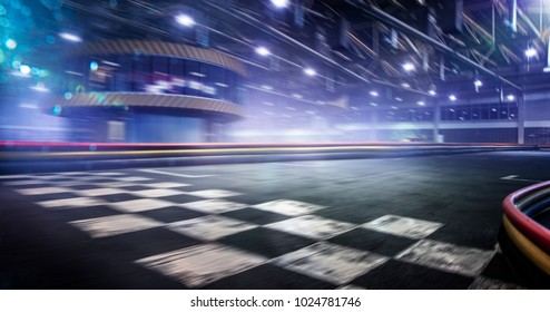 Cart race track finish line in motion background - Shutterstock ID 1024781746