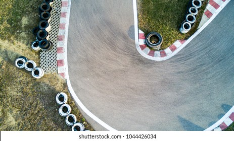 Cart road from above with tires