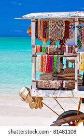 Cart selling souvenirs in the beautiful cuban beach of Varadero