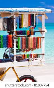 Cart selling souvenirs and in the beautiful cuban beach of Varadero