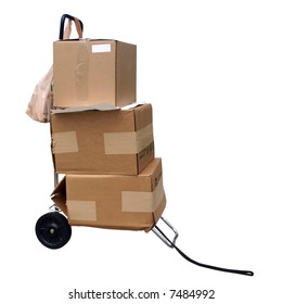 Cart with shipping boxes.