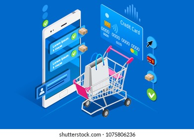 Cart and shopping interface on user phone, isometric concept. Shopping illustration for web banner, infographics, hero images. Flat isometric illustration isolated on blue background.