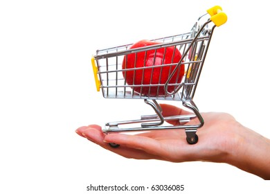 Cart from the supermarket  on  hand.