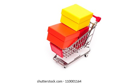Cart with three gift boxes on a white background