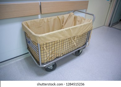 Cart or trolley use for laundry in the hospital.
