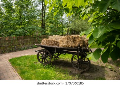 cart of Ukrainians of the 19th century with straw in the middle of the yard