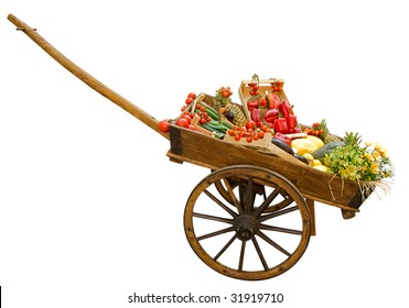 Cart with vegetable isolated on white by clipping path