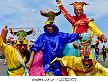 Cartagena, Bolívar/Colombia; 07/11/2019: Young people participating in folk dances at the Cartagena independence party. 3