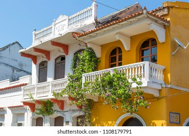 Cartagena, Colombia, 03/12/2016 architecture of the Old city. The walled Centro-Amurallada (Old town) is the heart and core of the history of Cartagena, full of colonial buildings.