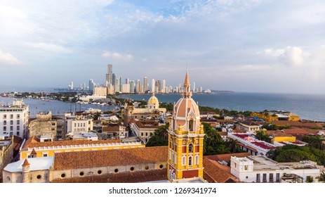 Cartagena / Colombia - 05 20 2018: View over colonial city of Cartagena