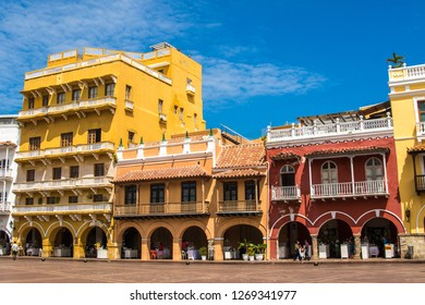 Cartagena / Colombia - 05 20 2018: Colonial streets of Cartagena
