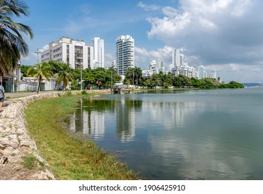 Cartagena, Bolívar, Colombia; 10- 03- 2020: Beautiful Laguito bay surrounded by buildings.