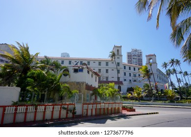 Cartagena / Colombia - 12 25 2018: Beautiful view of the Hotel Caribe in the zone of bocagrande in cartagena