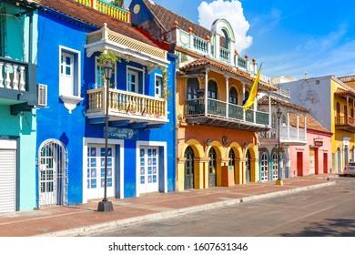 Cartagena, Colombia – 18 December, 2019: Scenic colorful streets of Cartagena in historic Getsemani district near Walled City (Ciudad Amurallada)