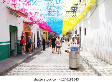 CARTAGENA, COLOMBIA, 3 AUGUST, 2018: Street scene in the Old Cartagena city, Colombia, South America