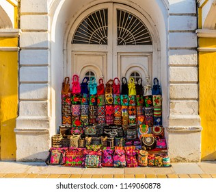 Cartagena, Colombia. April 2018. A view of tourist souvenirs for sale in the old town in Cartagena, Colombia.